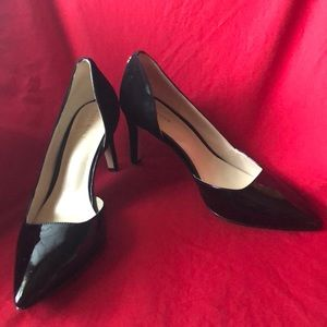 Cole Haan patent & Suede highline pumps